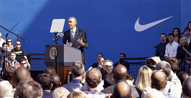 President Barack Obama speaks at Nike headquarters in Beaverton, Ore., Friday, May 8, 2015. The President is in Beaverton to make his trade policy pitch as he struggles to win over Democrats for what could be the last major legislative push of his presidency. (AP Photo/Don Ryan)