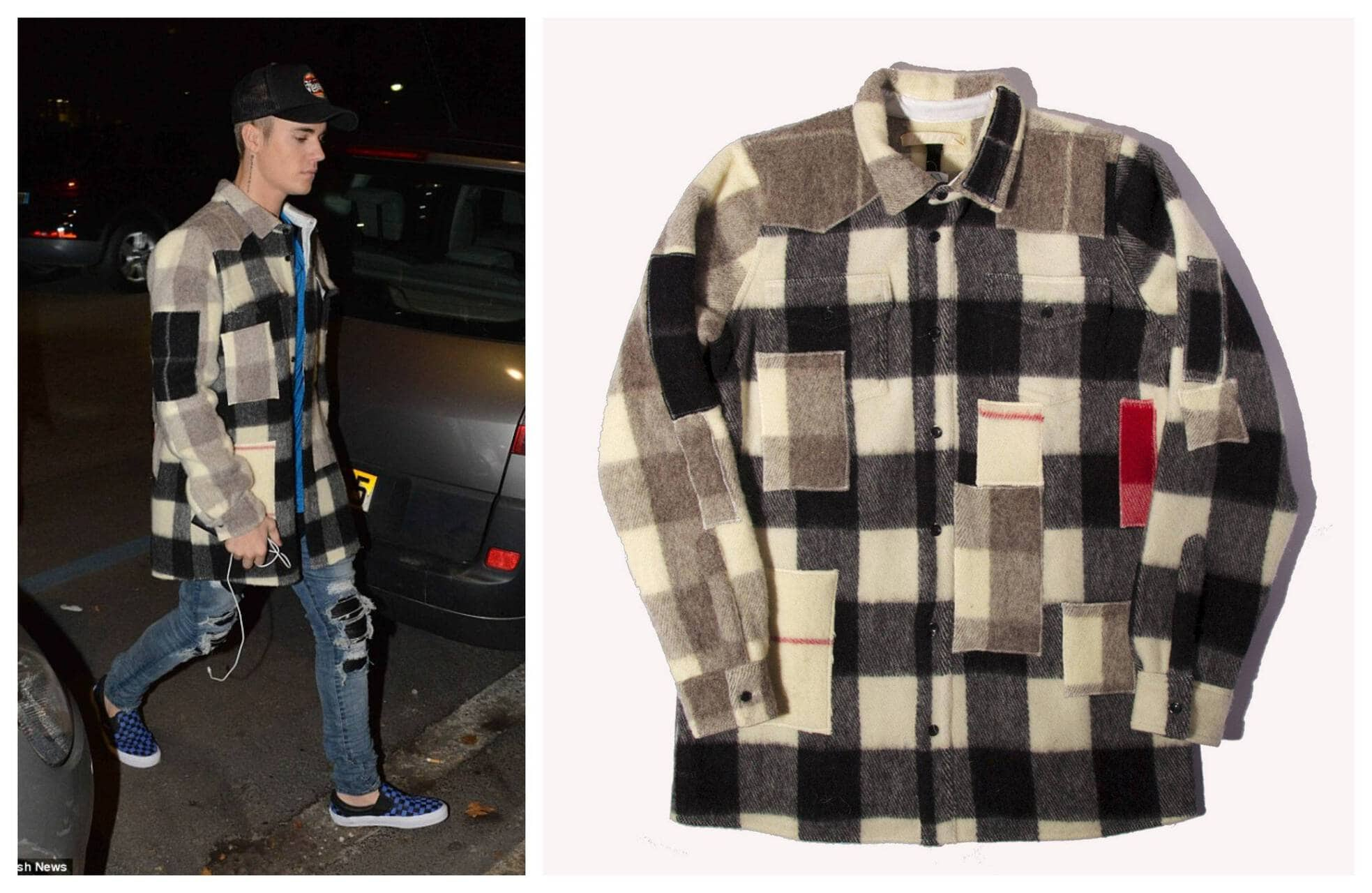 Off-White C_o Virgil Abloh Patchwork Heavy Wool Flannel Shirt Justin Bieber