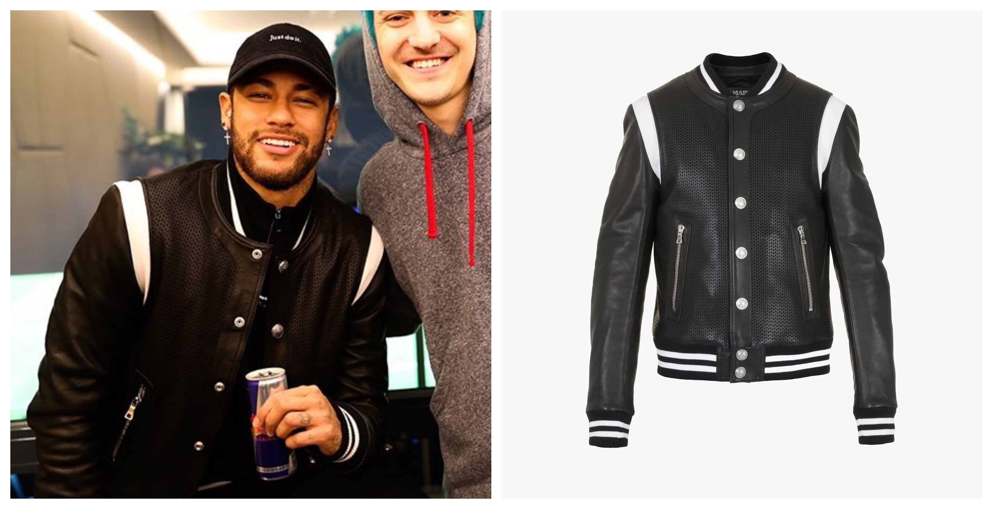 SNKRVN Balmain Perforated leather varsity jacket Neymar Jr