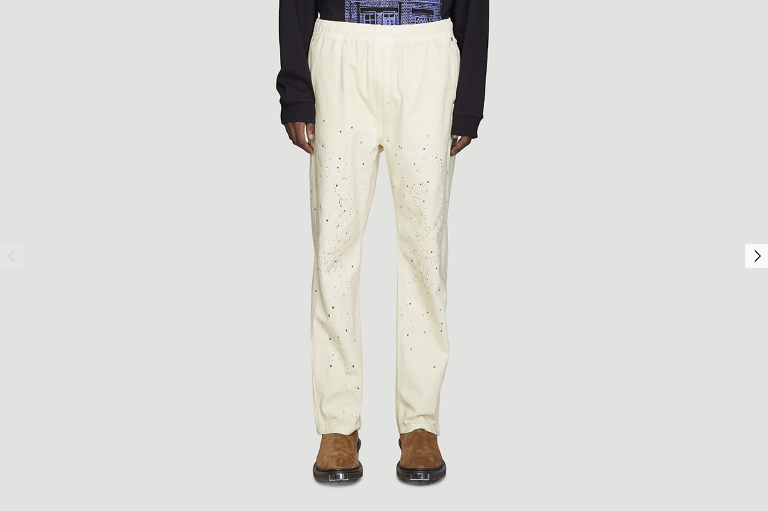 VYNER ARTICLES Elasticated Spray Paint Pants in Cream