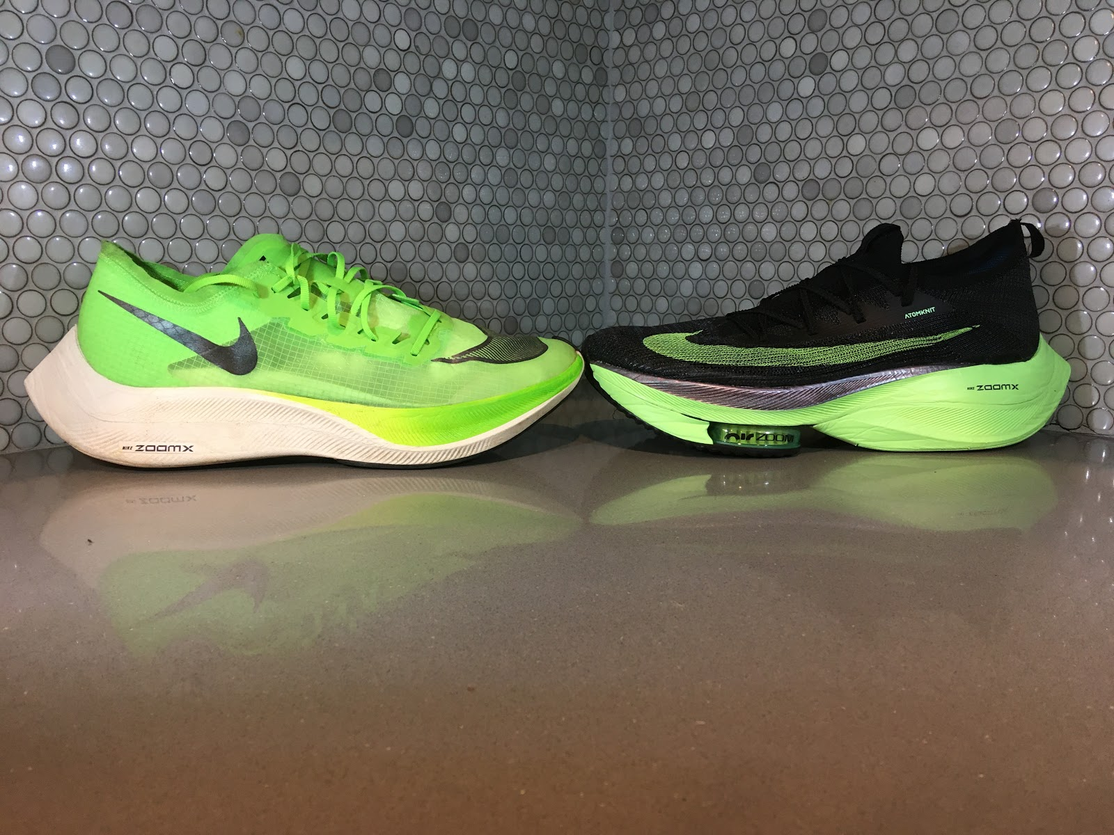 Nike VaporFly Next% (Kenenisa Bekele) vs. Nike AlphaFly Air Zoom Next% (Eliud Kipchoge) Source: Road Trail Run